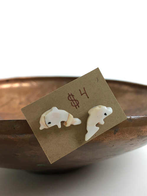 Mother of Pearl Dolphin Stud Earrings