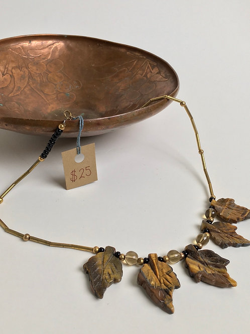 Brass and Tiger Eye Statement Necklace