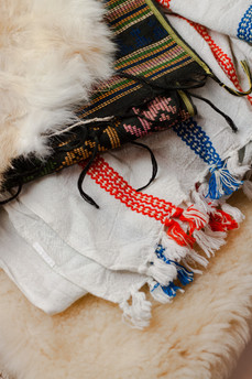 (detail) fabric and pelts sourced for costumes