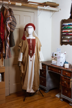 sewing station and completed costume