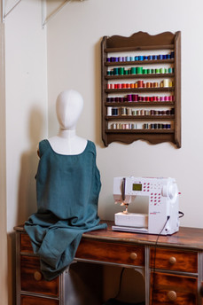 sewing station with dress to be repurposed for costumes