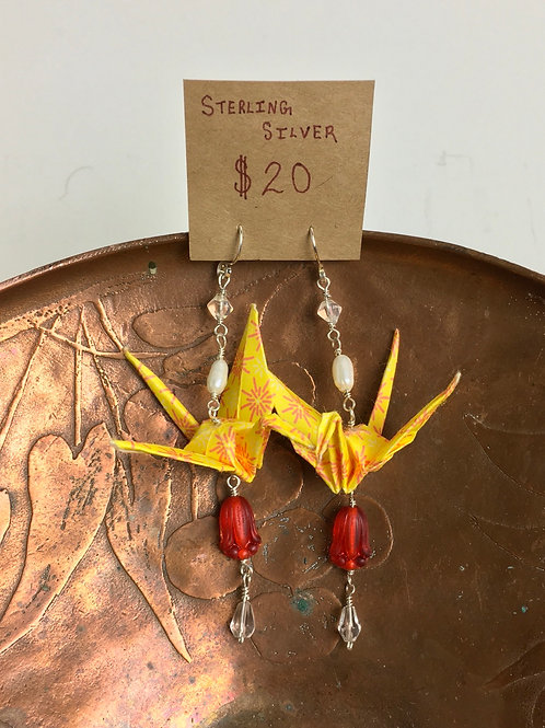 Glass, Pearl, and Sterling Silver Paper Crane Earrings