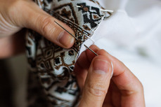 (detail) sewing a drews from scratch using historic bedouin patterns