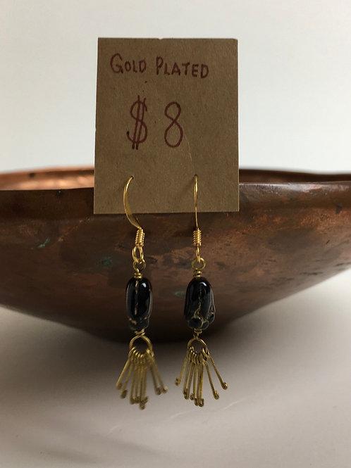 Gold Plated Black Glass Flower Drop Earrings