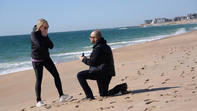 Beach Proposal on Blue Shutters