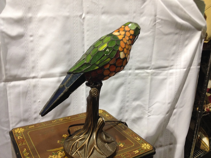 Leaded Glass Parrot Lamp
