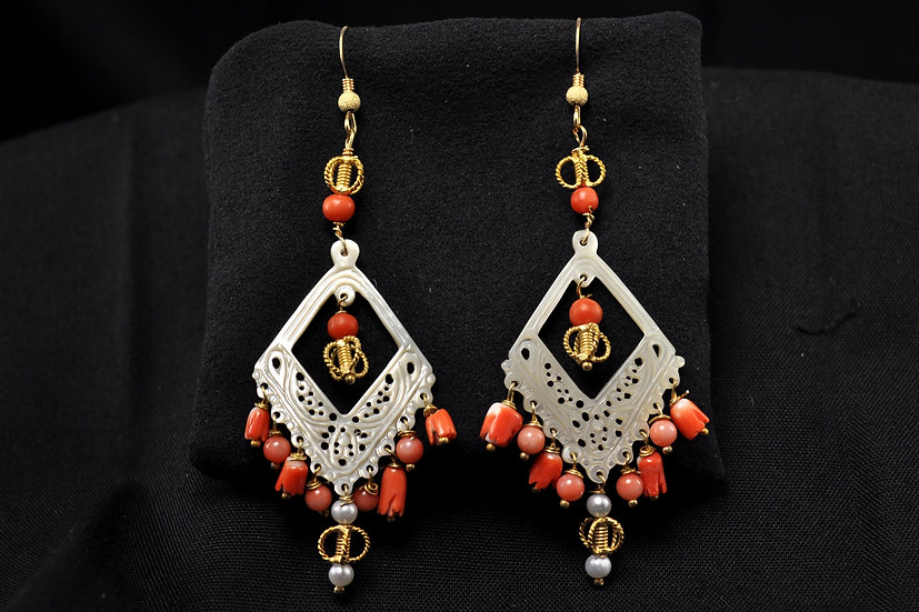 Coral Mother of Pearl, Freshwater Pearl Earrings