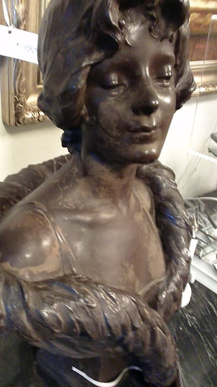 Bronze Victorian Lady Signed