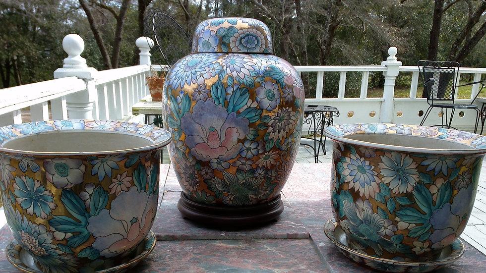 Hand Painted Cloisonne 22K Gilt Ginger Jar Set