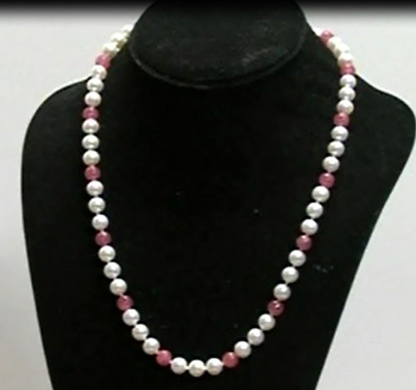 Pearl & Rhodocrosite Necklace