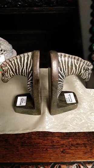 Stone Carved Zebra Bookends PAIR