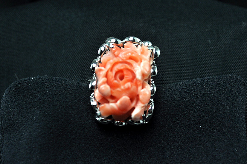 Coral Peony Ring