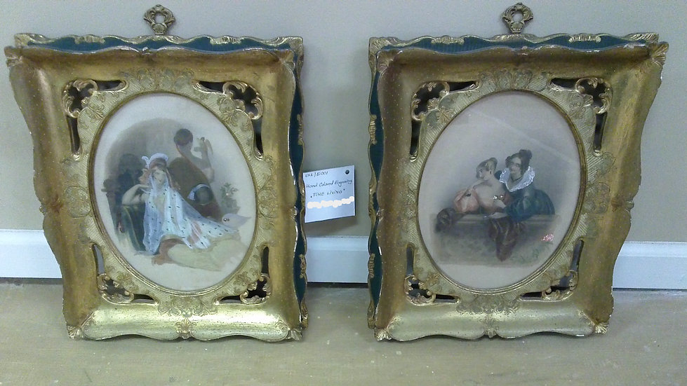 """""""Fine Living"""" Hand Colored Engraving. PAIR"""