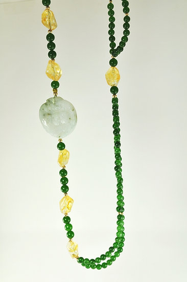 Citrine/Green Quartz Necklace/ Carved Jade Pendant