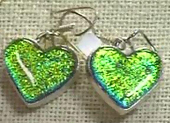 Sterling Silver Dichroic Glass Heart Earrings