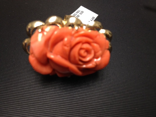 Coral ring 14k hand carved red coral sz 7.25