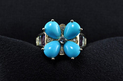 Sue Rochfort Turquoise Flower Ring