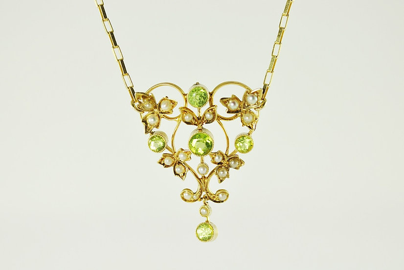 Peridot & Seed Pearl Necklace