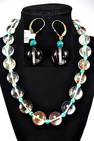 Turquoise & Quartz Necklace and Earrings