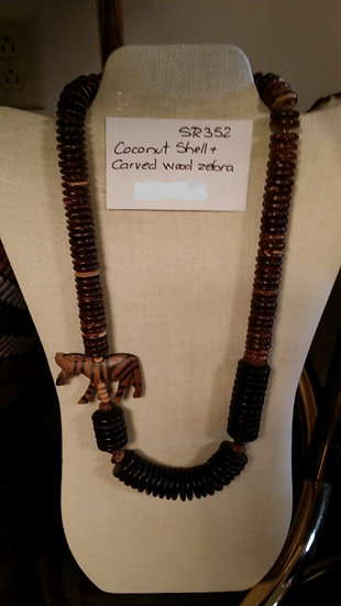 Coconut Shell & Carved Wood Zebra