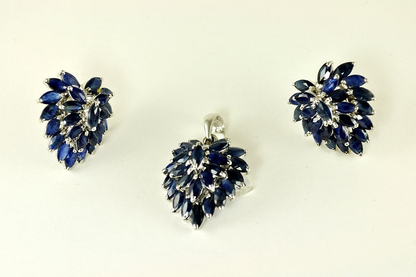 Sapphire Earrings and Pendant Set
