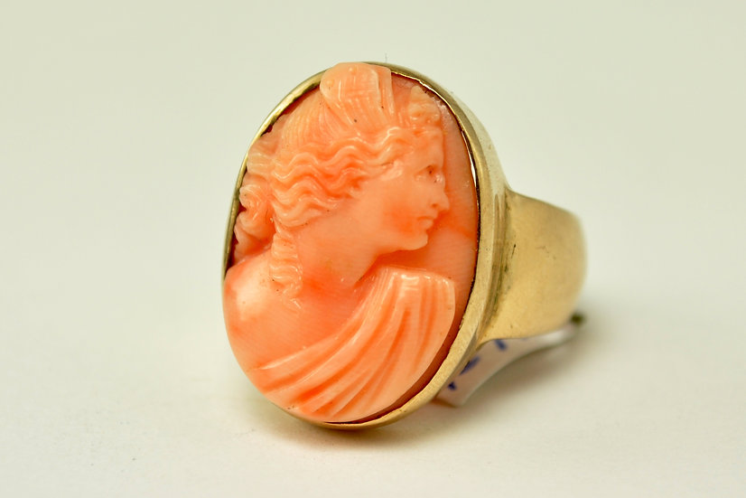 Angelskin Coral Cameo Ring