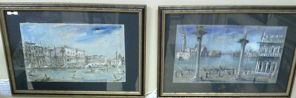 """Piazza San Marco Venice"" Artist Unknown PAIR"