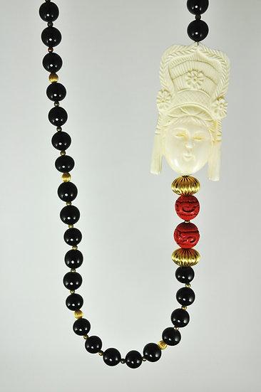 Carved Bone Medallion Necklace
