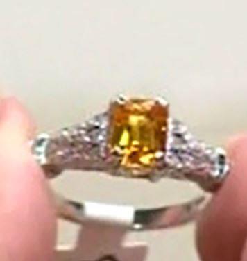 14K White Gold Mandrin Orange Garnet Ring