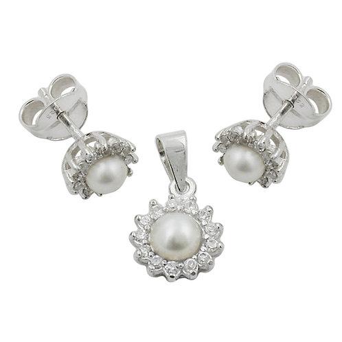 Ohrringe mit Anhänger Perle mit Zirkonias