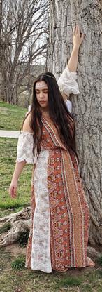 Orange Bohemian dress by a tree.jpg