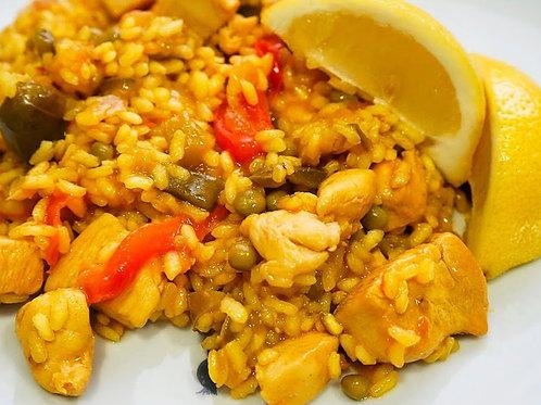 Paella mixta de pollo y vegetales para 2 personas