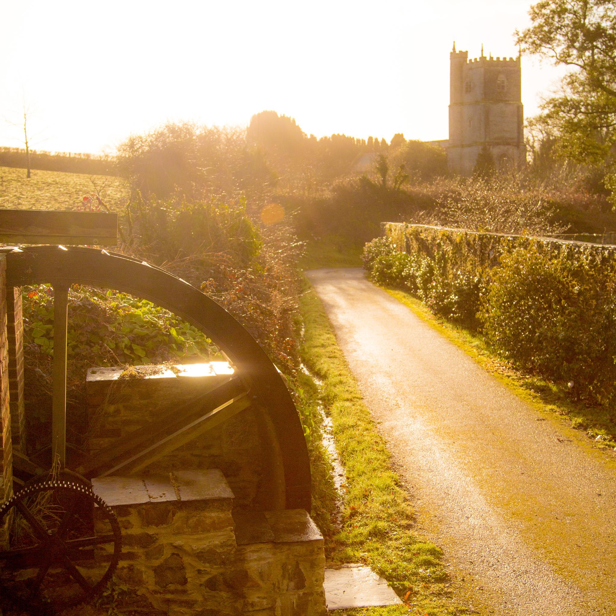 View along drive towards church