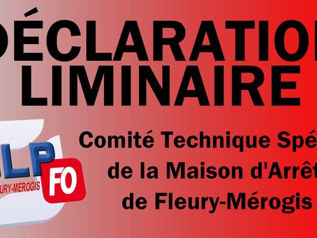 Prison de Fleury-Mérogis : Déclaration liminaire Comité Technique Spécial