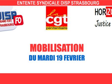Entente syndicale DISP Strasbourg : Mobilisation du Mardi 19 février 2019
