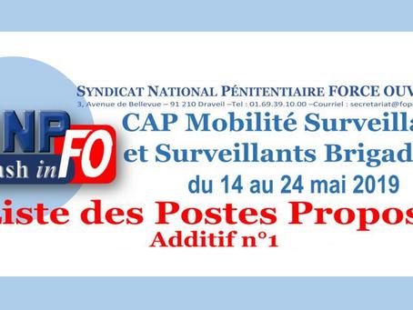 CAP Mobilité Surveillants et surveillants Brigadiers du 14 au 24 Mai 2019 : Liste des postes proposé
