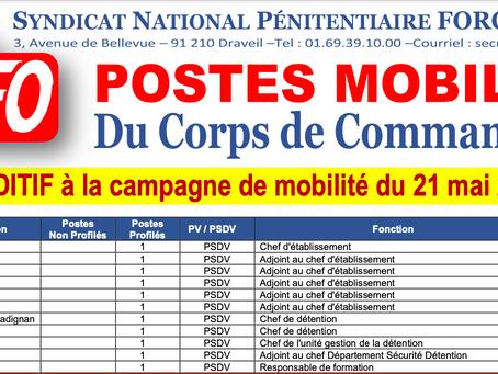 Postes mobilités du Corps de Commandement : Additif à la campagne de mobilité du 21 mai 2021