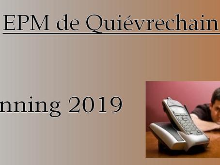 EPM de Quiévrechain : Planning 2019