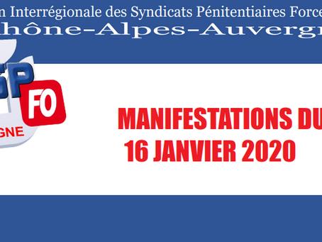 DI de Lyon : Manifestations du 16 Janvier 2020