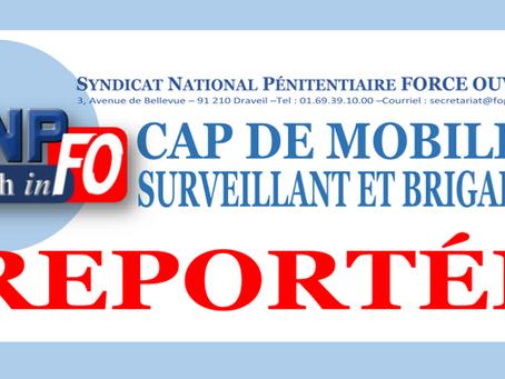 CAP de mobilité Surveillant et Brigadier : Reportée