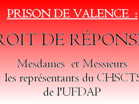 Prison de Valence : Droit de réponse