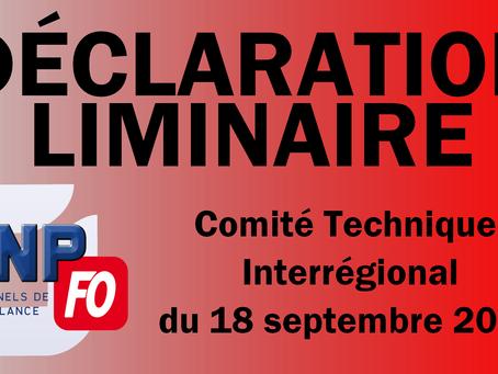 Déclaration liminaire du CTI du 18 septembre 2018