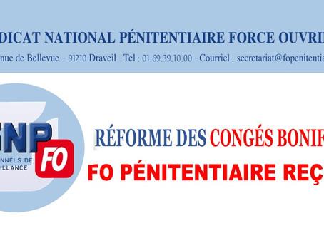 Réforme des congés bonifiés : FO Pénitentiaire reçu !
