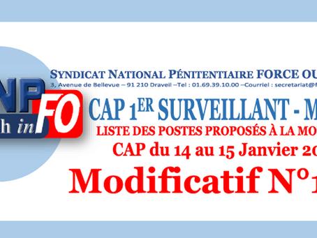 CAP 1er Surveillant-Major : Liste des postes proposés à la mobilité CAP du 14 au 15 janvier 2019 Mod