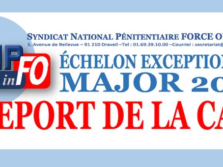 Échelon exeptionnel Major 2018 : Report de la CAP