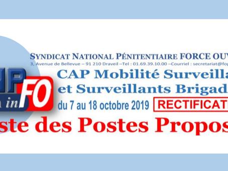 CAP Mobilité Surveillants et Surveillants Brigadiers du 07 au 18 Octobre 2019 : Liste des postes pro