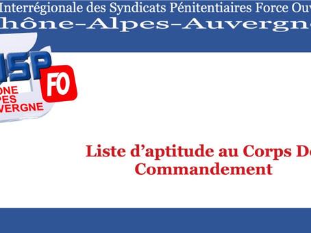 Liste d'aptitude au Corps De Commandement