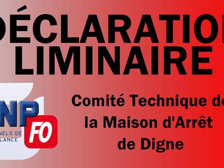 Prison de Digne : Déclaration liminaire CTS du 27 Juin 2019