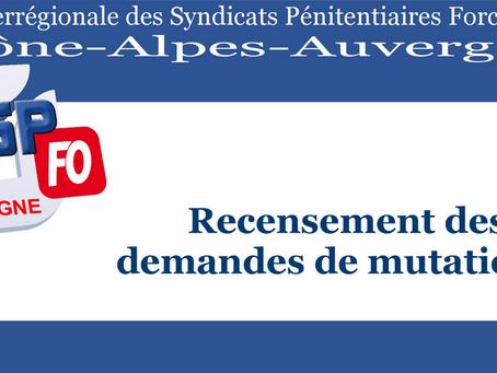 DI de Lyon : Recensement des demandes de mutations CAP des Surveillants et Brigadiers d'Octobre