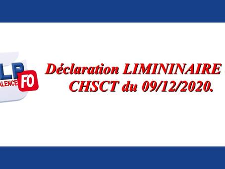 Prison de Valence : Déclaration liminaire au CHSCT du 09/12/2020